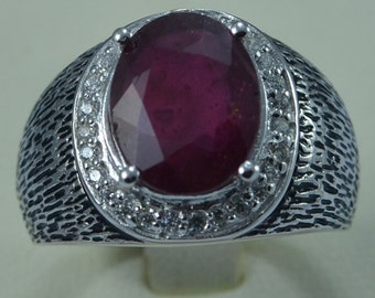 Suberb Sterling Silver 925 Natural Ruby Men Ring Cluster Claw  Antique Design Genuine Gemstone size 10 (Re-sized available)