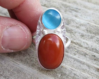 Native American Inspired Red Jasper and Cats Eye Sterling Silver Ring - Size 7