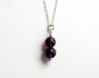 Amethyst Necklace - Sterling Silver - February Birthstone - Amethyst Jewelry - Purple Gemstone Necklace - 6th Anniversary Gift