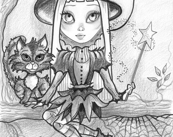 Adult Coloring Page- Grayscale Coloring Page -Printable Coloring Page- Digital Download- Halloween Fantasy Art- Witchling by Leslie Mehl Art