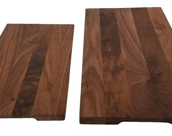 Cutting/Serving Board Black Walnut - Free Engraving! - Wooden Rectangle Edge Grain Cutting Board With Finger Insets
