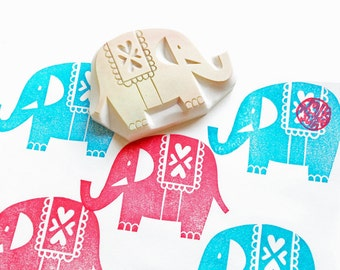 elephant rubber stamp | circus stamp | birthday baby shower christmas card making | fabric stamping | hand carved by talktothesun