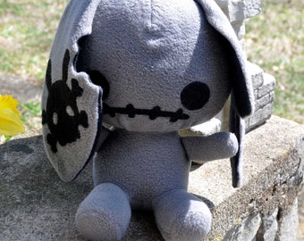 Gray Zombie Bunny plush