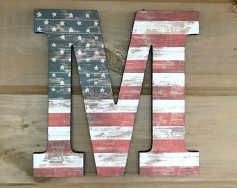 """12"""" American Flag Wall Art, Wall Decor, Rustic Decor, American Flag Letter,  Letter Art, Gallery Wall, Hanging Letter, Decorated Letter"""