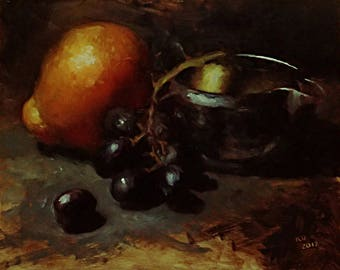 tangelo & grapes - original oil painting