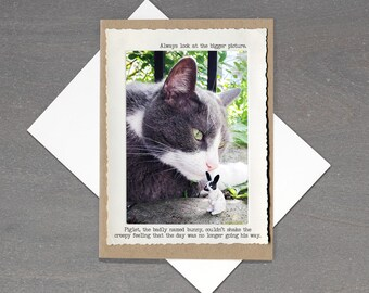 Funny Cat Card • Motivational Card • All Occasion Blank Card • Bunny Card • Inspirational Card • Dark Humor