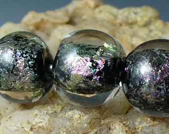Lampwork beads/SRA lampwork/beads/artisan lampwork/ dichroic/ magenta/silver/