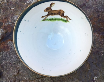 Pottery Bowl with Running Hare ceramic pottery