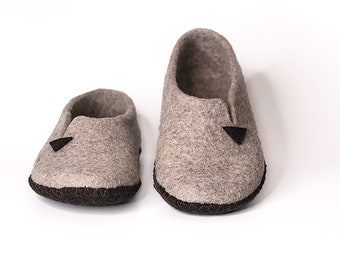 Woolen slippers Handmade Felted slippers for womans Natural wool felt clogs Woman house shoes Felted clogs large size Sole - felt
