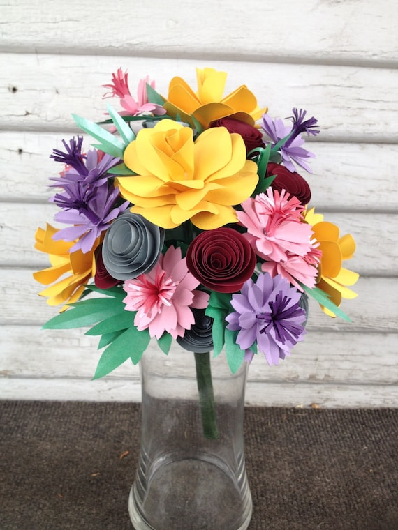Paper flower bouquet Mixed flowers colorful bouquet spring