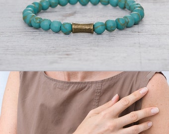 Turquoise bracelet Blue bracelet Turquoise beaded bracelet Minimalist bracelet Stackable jewelry Matching bracelets / 6mm beads