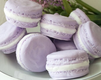 Soap shower favors - French Macaron Soap - Wedding Favor - Baby Shower favor - Paris Theme - French Macaroon - pastel lavender purple