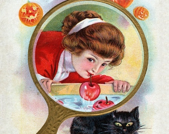 Halloween Greetings - Bobbing for Apples, giclee print reproduction of a vintage postcard