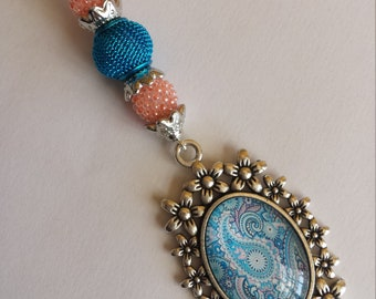 "Pendant 1 ""cabochon 18x25mm spiral glass beads and glass""-3x10.5cm"