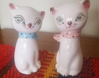 2 Vintage and Winking/Blinking Cats/Kittens Salt & Pepper Shakers from Japan