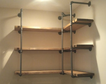 Custom Corner Pipe Shelving Unit, Industrial Corner Shelf
