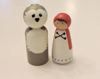 Little Red Riding Hood Handpainted Peg Dolls - 2 Peg Doll Set