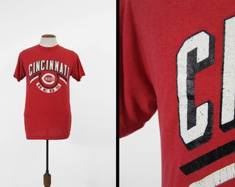 Vintage Cincinnati Reds T-shirt Paper Thin Distressed Champion Made in USA - Large