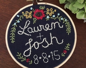 "Taking Orders for JUNE/JULY : 6"" Hoop Art Hand Embroidered Wedding/ Baby Memento"
