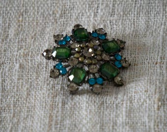 DimensionalGreen, Turquoise, Incandescent  Rhinestone Flower Brooch