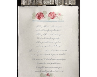 Custom wedding vows - hand lettered and illustrated