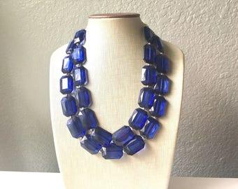 Navy Blue Statement Necklace, Chunky Jewelry Big Beaded Double Strand Necklace, Dark Blue Necklace, Blue Jewelry Set, Dark Blue Beaded