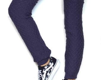 Long  Leg warmers in dark purple/Ballet dance leg warmers/ Urban clothing / Knit leg wear / Woman leg warmers