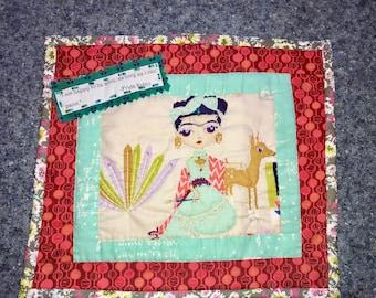 Frida Kahlo Beaded Mini Quilt Wall Hanging