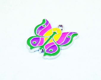 HEV43 - pendant Butterfly pink green purple yellow enamel 25mm X 25mm
