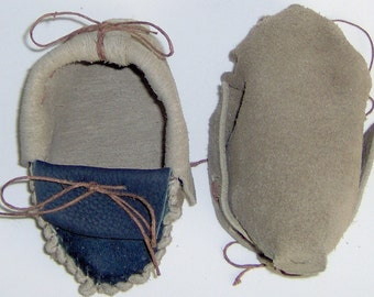 Custom Made! Two Tone Brown & Blue Leather Baby Moccasins,Hand Crafted Size 2-4 iInfant Moccasins Suede Leather Hand-cut and Sewn