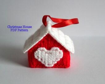 Plastic Canvas Christmas Pattern: Christmas House, Christmas Tree Decoration, Plastic Canvas Ornaments, Christmas Decorations, PDF Format