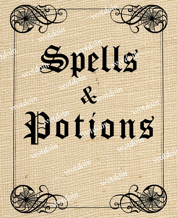 Halloween Book Cover Printable : Printable halloween spells and potions book cover scrapbooks