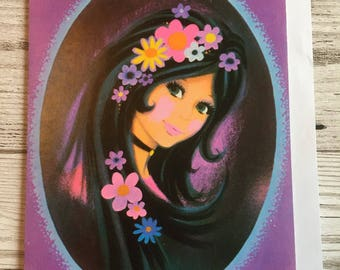 Vintage Mother's Day Card, Flower Power, Groovy Girl, Purple, 1970's, Unused
