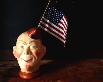 Vintage 1940s Elmer Bisque Military Soldier Pottery Head Vase