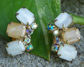 Vintage Clip On Earrings made of White and Taupe Cabochon Stones with Aurora Borealis Rhinestones in Gold Tone Setting