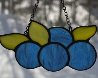 Maine Wild Blueberries Stained Glass Sun catcher, Blueberry Art