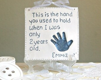 Kids and Baby Handprint Art - Keepsake Handprint Art  - Child Memento - Baby Keepsake - Gift For New Mom - Personalized Baby - Father's Day