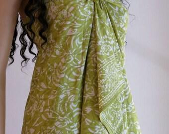 Green Sarong, Beach Dress, Sarong, Pareo, Wrap, Swimsuit Cover up, D