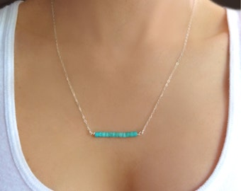 Turquoise Bar Necklace Sterling Silver, Beaded Simple Delicate Dainty Genuine Turquoise Necklace, Jewelry Gift For Bridesmaid, 14k Gold Fill