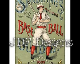 Instant Digital Download, Vintage Victorian Graphic, Spalding Base Ball Guide, Printable Image, Scrapbook, Americana Typography, Baseball
