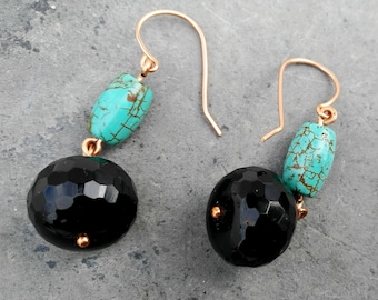 Black Onyx Turquoise Dangle Earring Healing crystals, Natural Stones, Charka Stones