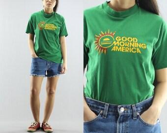 1980's Good Morning America Crew Neck Novelty TV Show T Shirt Women's Size Medium 80's Vintage
