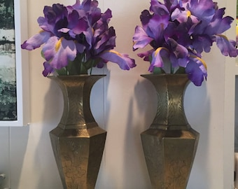 Vintage Set of Two Solid Brass Chinese Etched and Carved Flower Vases - Etched and Carved Asian Brass Vases | Pillar Candle Holder
