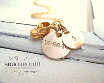 Baby Shoe Charm Necklace . New Baby . Personalized Gold Necklace . Hand Stamped Mommy Jewelry . Little One . Brag About It
