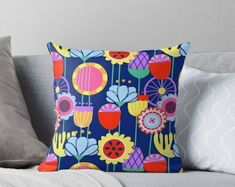 Swedish Folk Art Throw Pillow|Garden|Bright|Blue|Flowers|Home Decor|Interior|Cushion