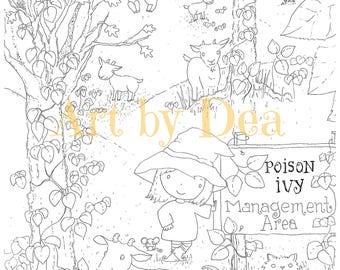 PENELOPE'S GARDEN Poison Ivy Digital Download PDF Instant Coloring
