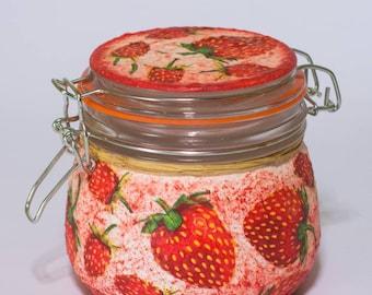 Strawberry kitchen decor canister fruit  romantic decoupage  storage jar garden decor glass gift for her, wife, friend teacher,birthday gift