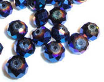 24pc - 4mm Thunder Polish Faceted Metallic Blue Ray 2X Crystal Rondelle Spacer Beads