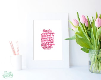 Focus Amy Poehler Quote - Hand Lettered Print