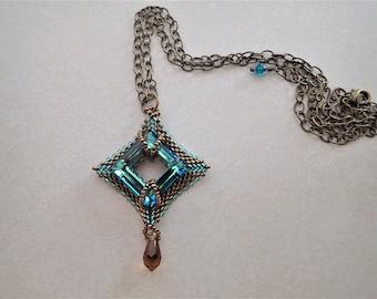 Peyote Diamond with Teal Swarovski Crystal Necklace